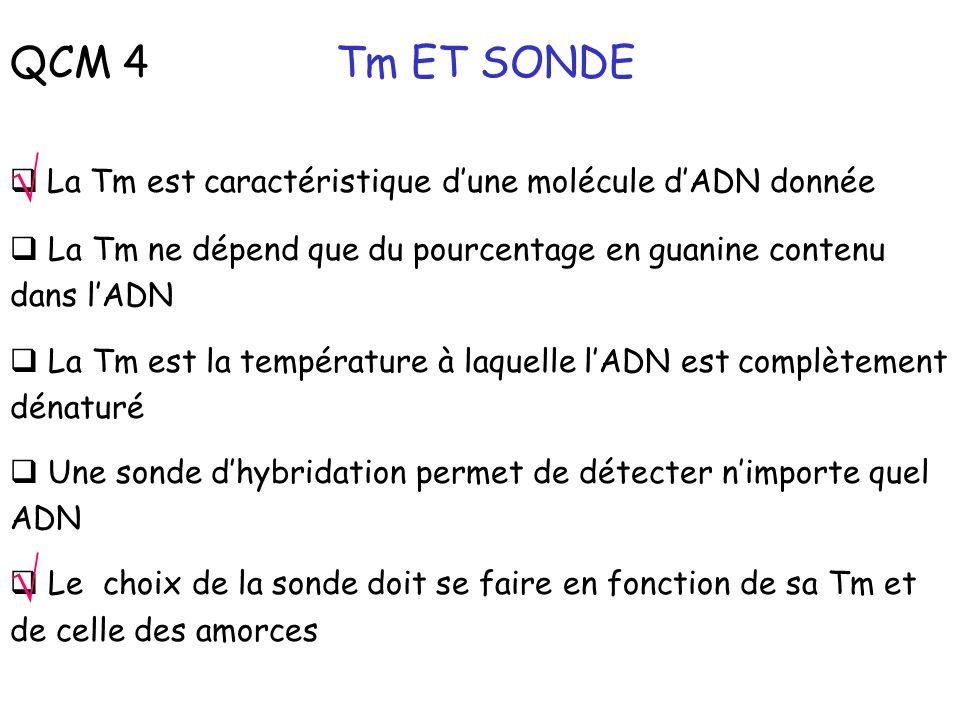 QCM 4 Tm ET SONDE √ La Tm est caractéristique d'une molécule d'ADN donnée. La Tm ne dépend que du pourcentage en guanine contenu dans l'ADN.