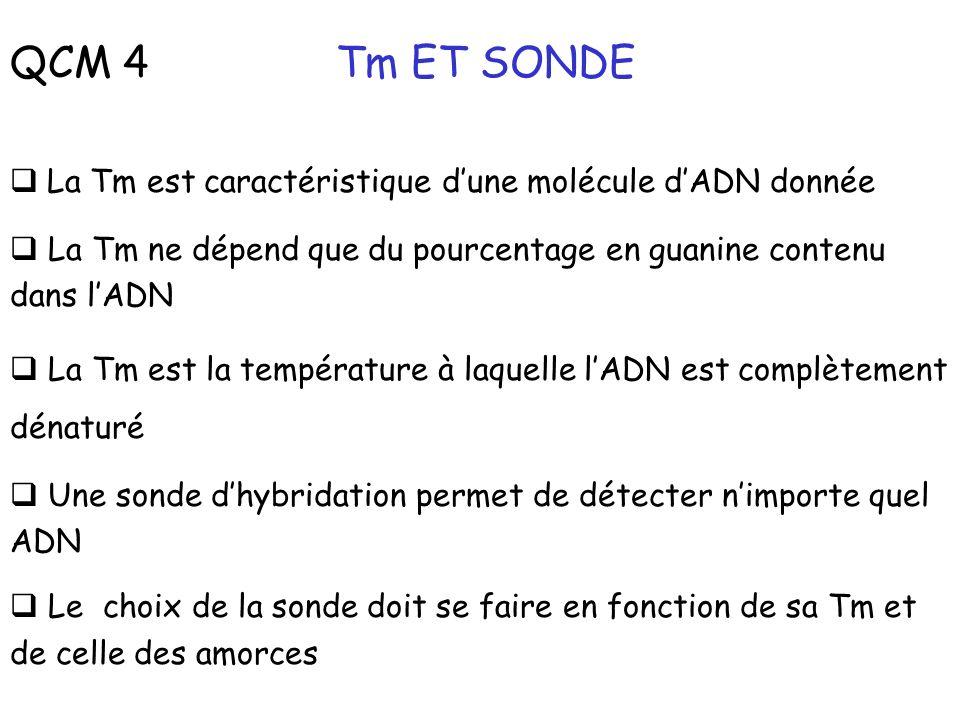 QCM 4 Tm ET SONDE La Tm est caractéristique d'une molécule d'ADN donnée. La Tm ne dépend que du pourcentage en guanine contenu dans l'ADN.