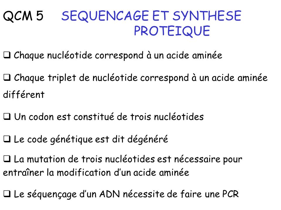 SEQUENCAGE ET SYNTHESE PROTEIQUE