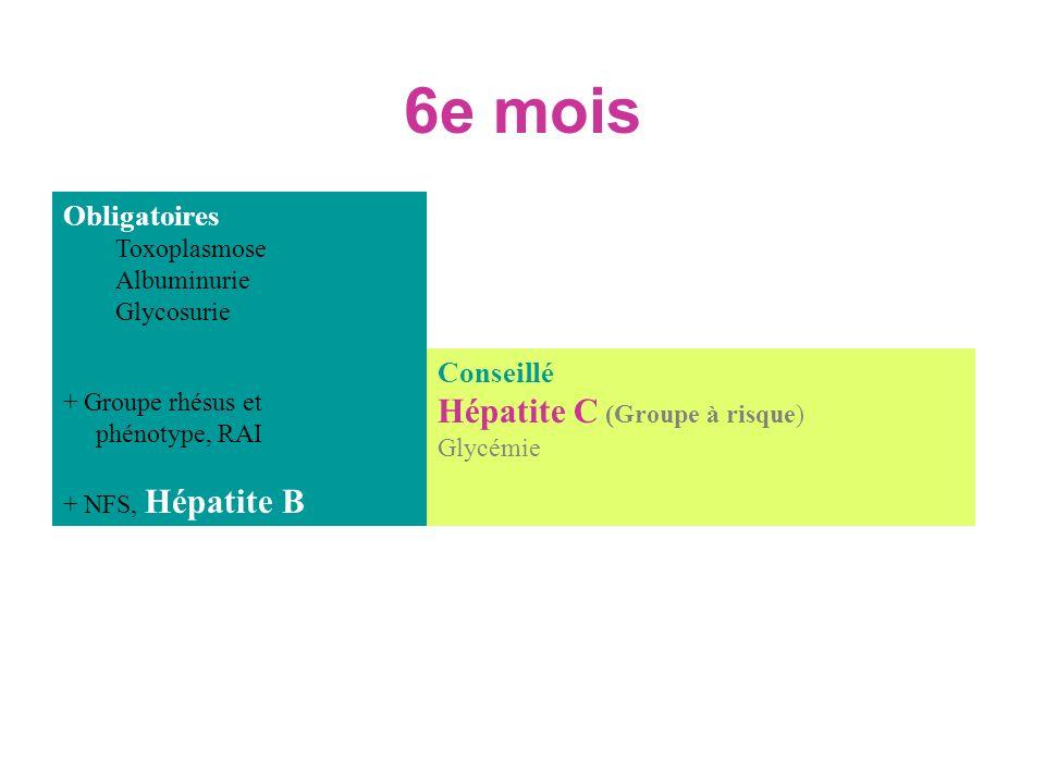 6e mois Hépatite C (Groupe à risque) Obligatoires Conseillé