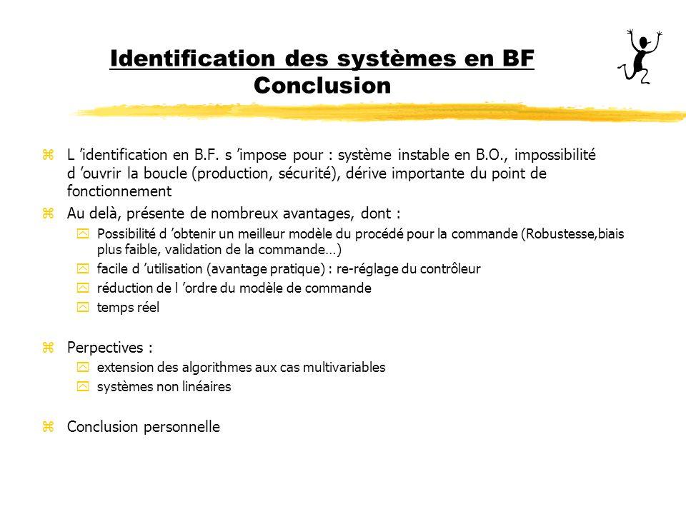 Identification des systèmes en BF Conclusion