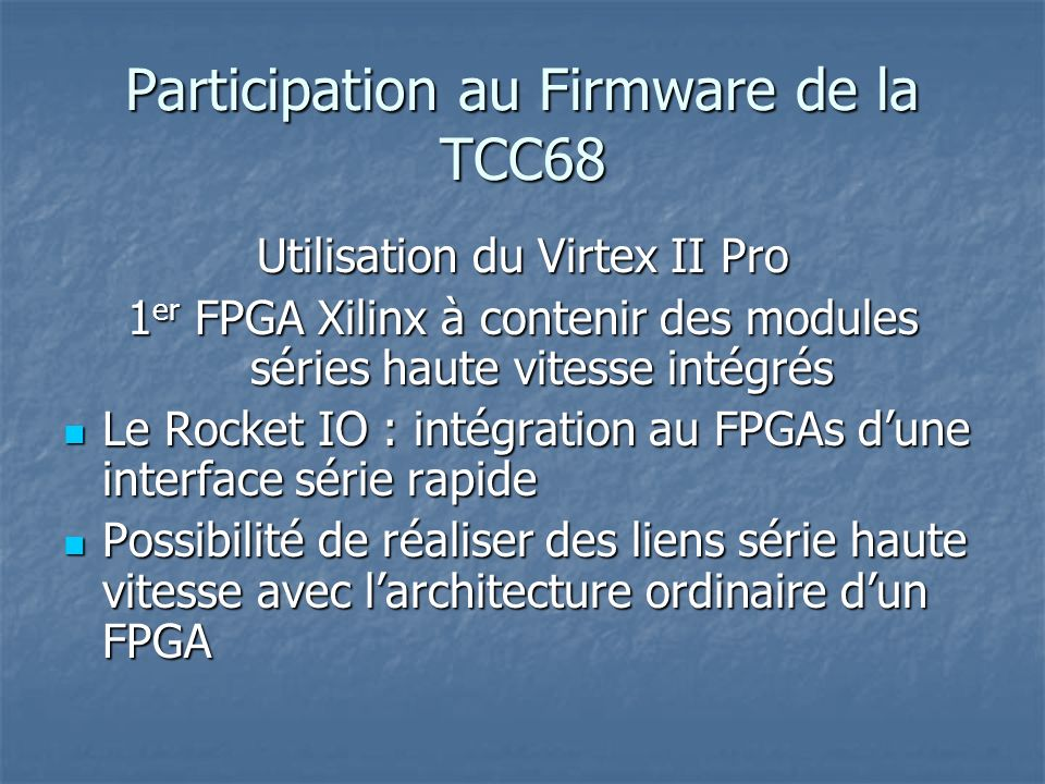 Participation au Firmware de la TCC68