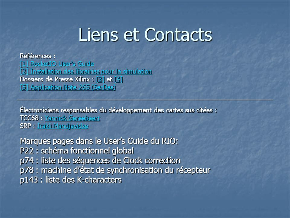 Liens et Contacts Marques pages dans le User's Guide du RIO: