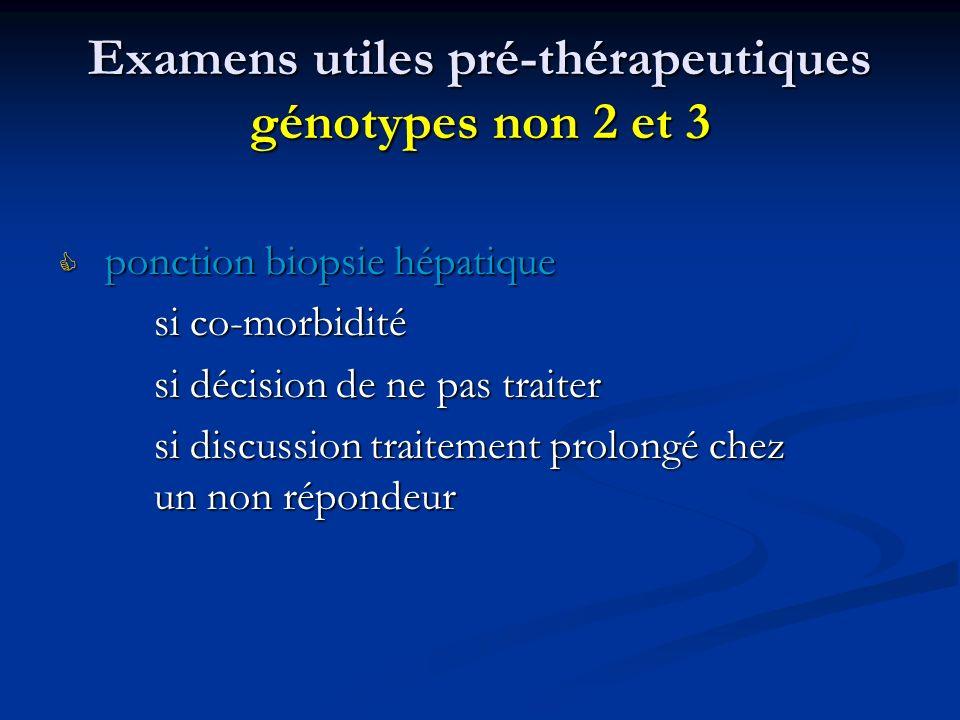 Examens utiles pré-thérapeutiques génotypes non 2 et 3