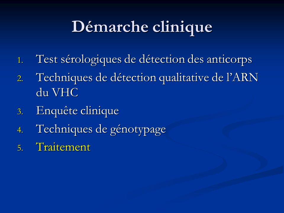 Démarche clinique Test sérologiques de détection des anticorps