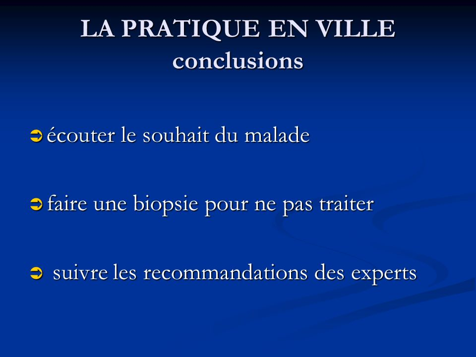 LA PRATIQUE EN VILLE conclusions