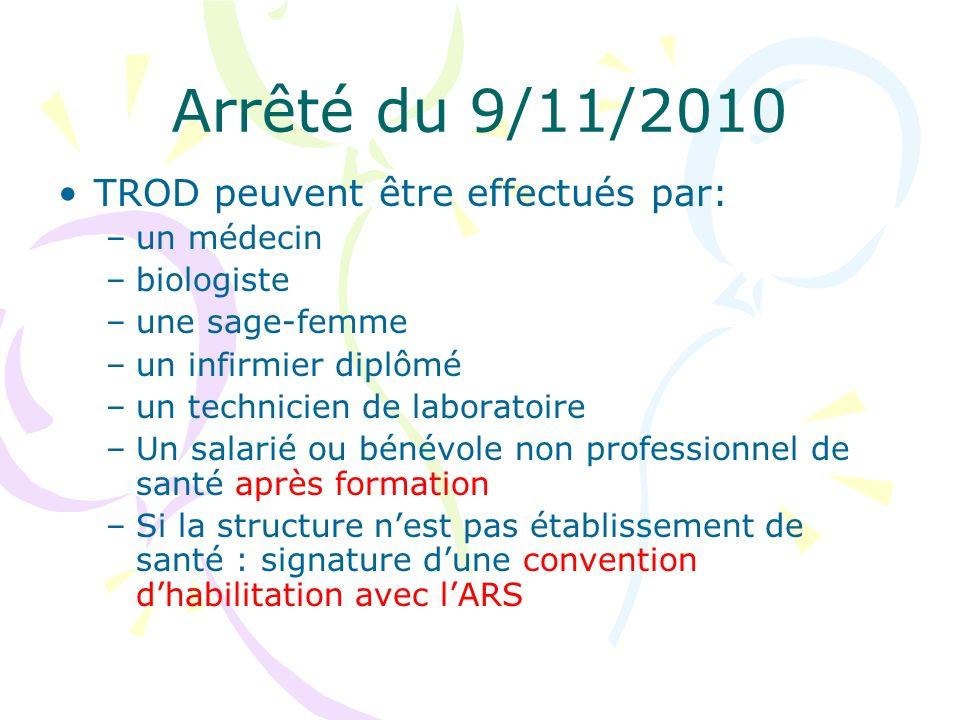 Arrêté du 9/11/2010 TROD peuvent être effectués par: un médecin
