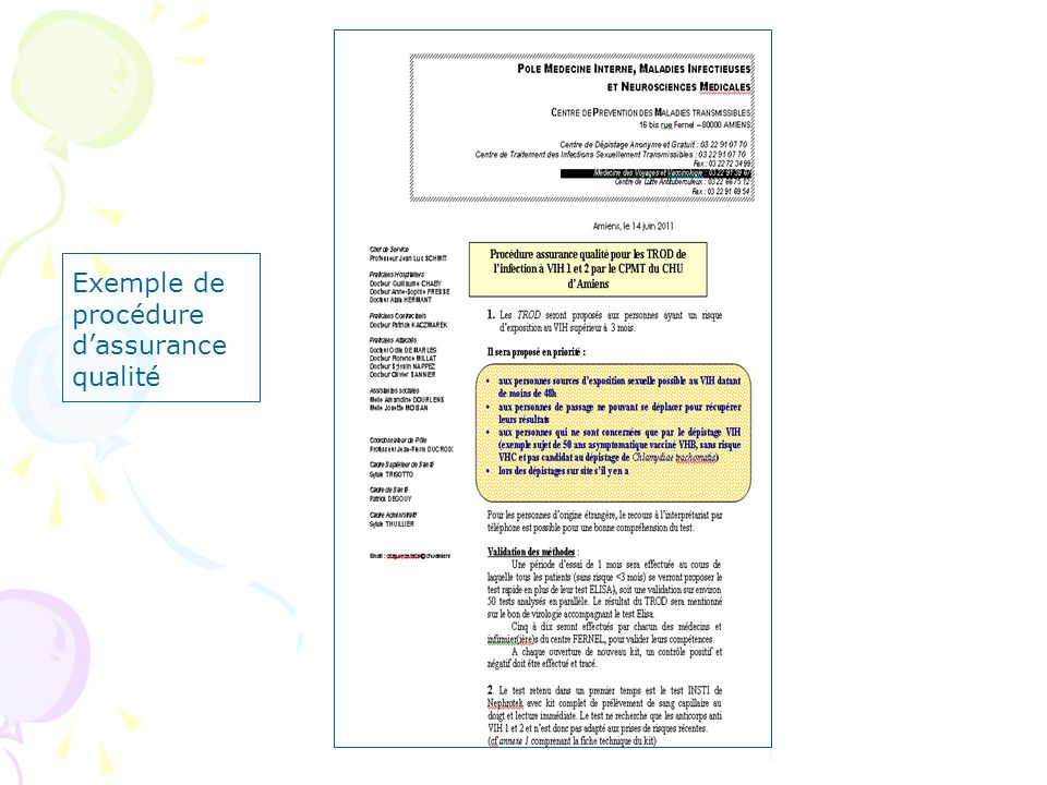 Exemple de procédure d'assurance qualité