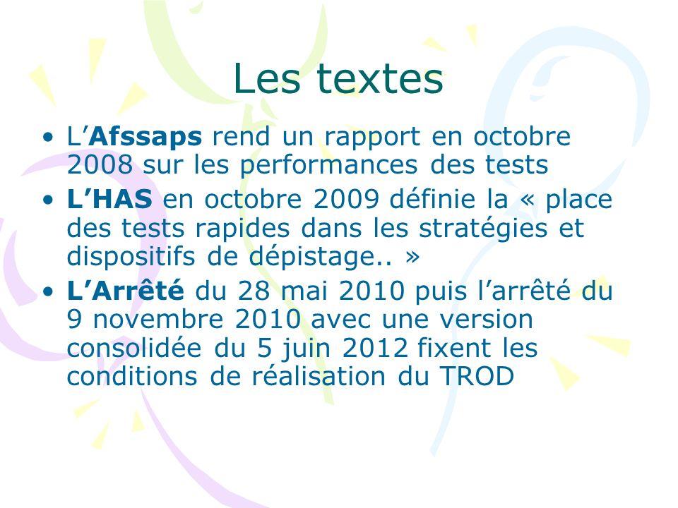 Les textes L'Afssaps rend un rapport en octobre 2008 sur les performances des tests.
