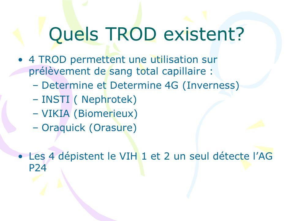 Quels TROD existent 4 TROD permettent une utilisation sur prélèvement de sang total capillaire : Determine et Determine 4G (Inverness)