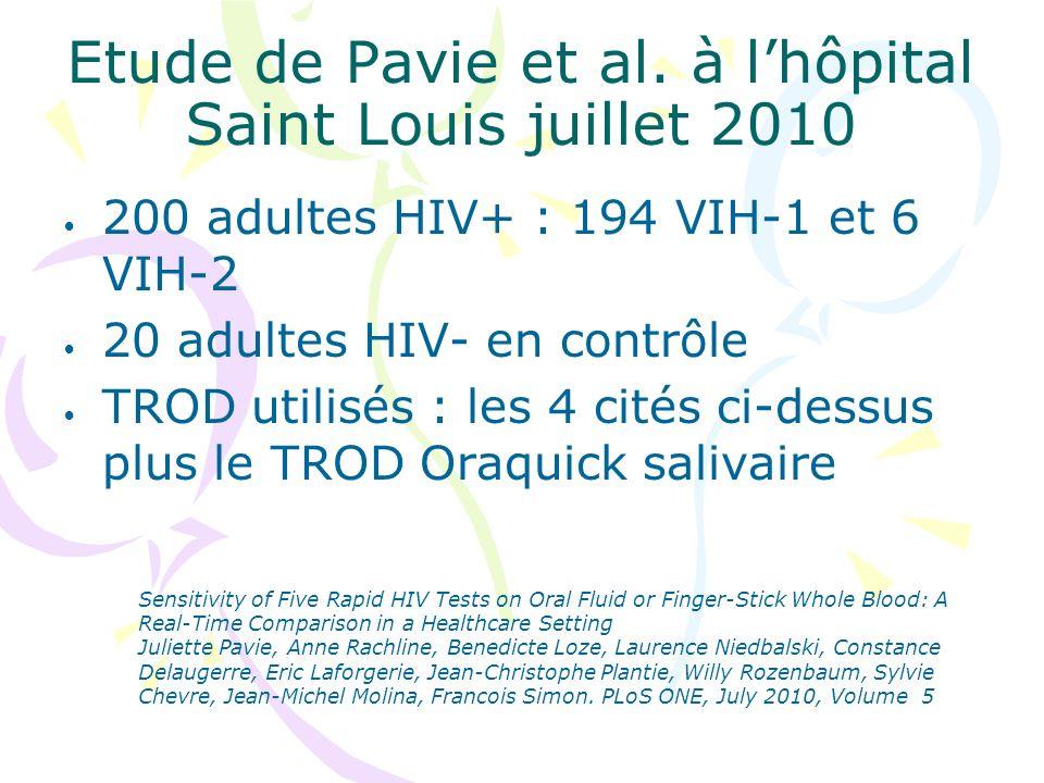 Etude de Pavie et al. à l'hôpital Saint Louis juillet 2010