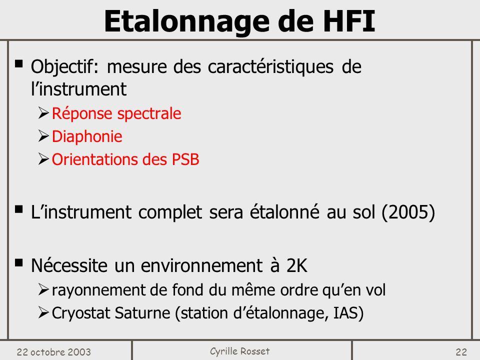 Etalonnage de HFI Objectif: mesure des caractéristiques de l'instrument. Réponse spectrale. Diaphonie.