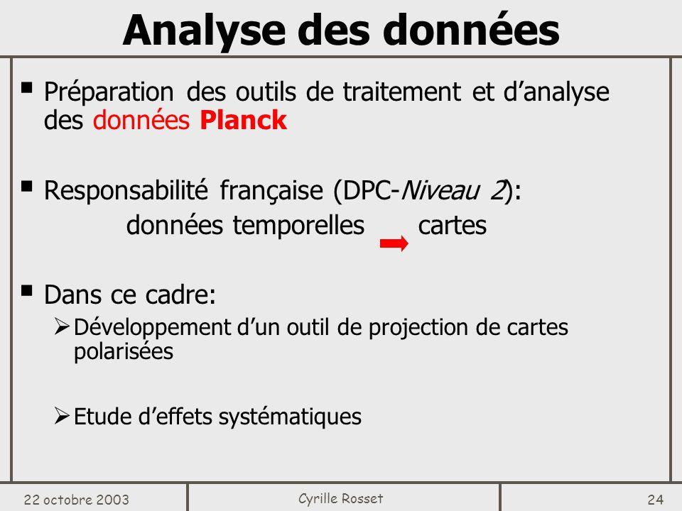 Analyse des données Préparation des outils de traitement et d'analyse des données Planck. Responsabilité française (DPC-Niveau 2):