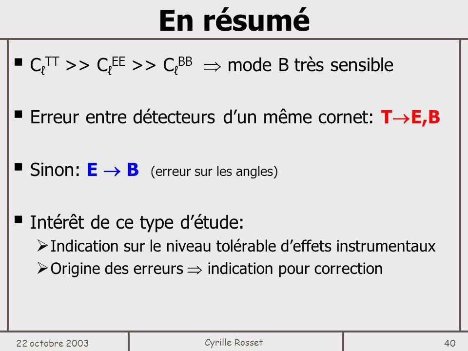 En résumé CℓTT >> CℓEE >> CℓBB  mode B très sensible