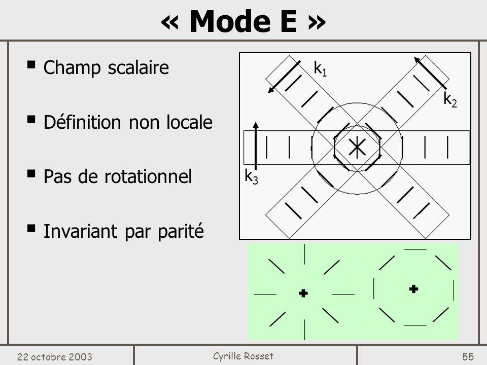 « Mode E » Champ scalaire Définition non locale Pas de rotationnel