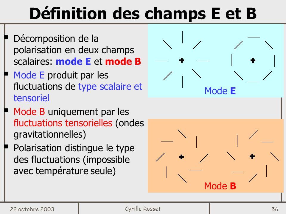 Définition des champs E et B