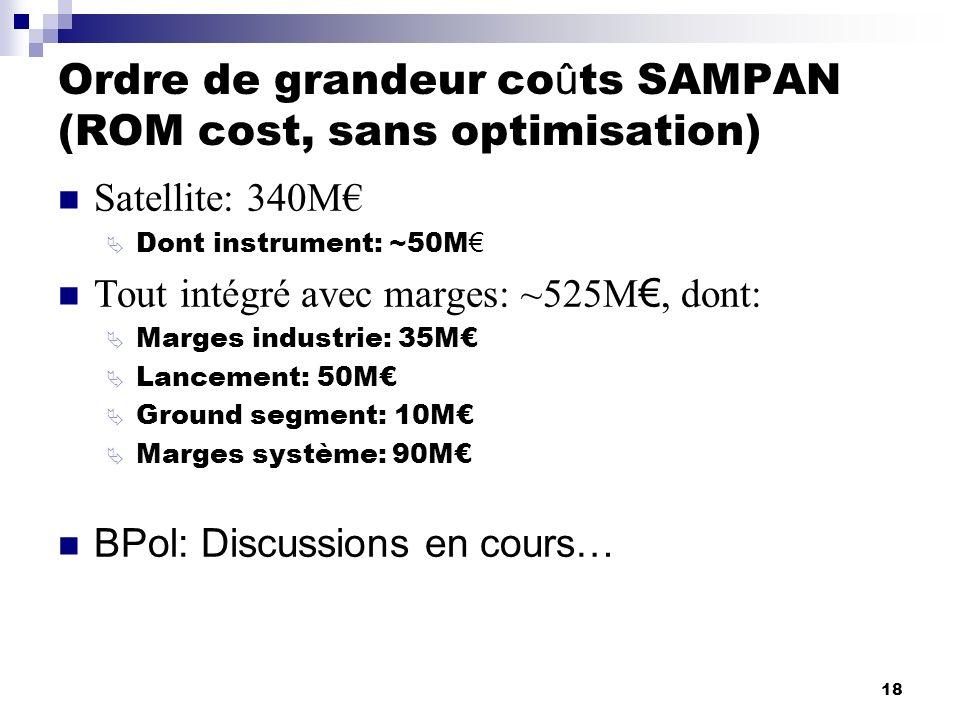 Ordre de grandeur coûts SAMPAN (ROM cost, sans optimisation)