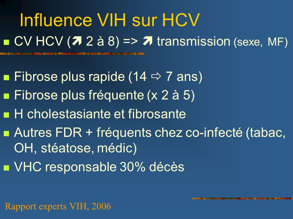 Influence VIH sur HCV CV HCV ( 2 à 8) =>  transmission (sexe, MF)