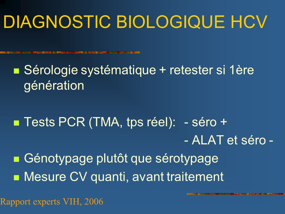 DIAGNOSTIC BIOLOGIQUE HCV