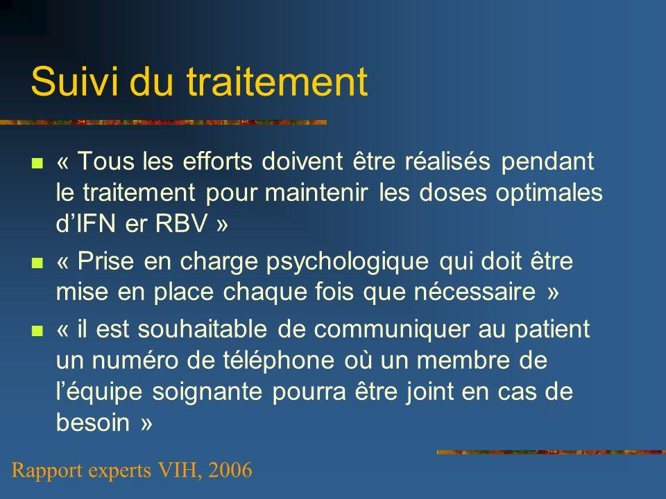 Suivi du traitement « Tous les efforts doivent être réalisés pendant le traitement pour maintenir les doses optimales d'IFN er RBV »