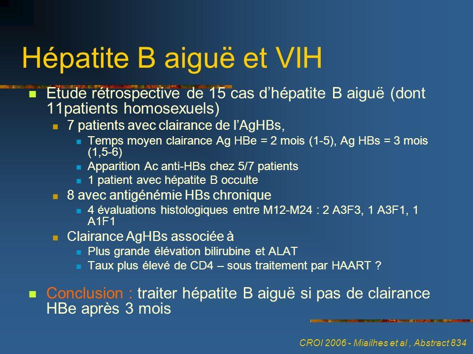Hépatite B aiguë et VIH Etude rétrospective de 15 cas d'hépatite B aiguë (dont 11patients homosexuels)