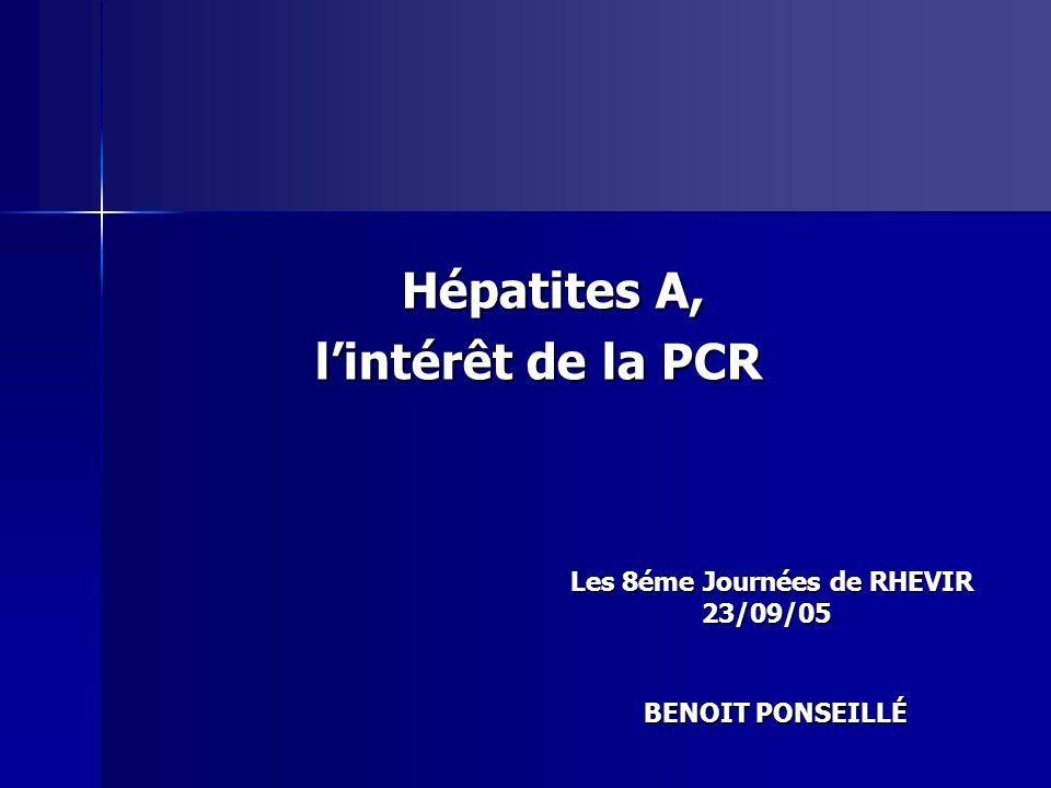 Hépatites A, l'intérêt de la PCR
