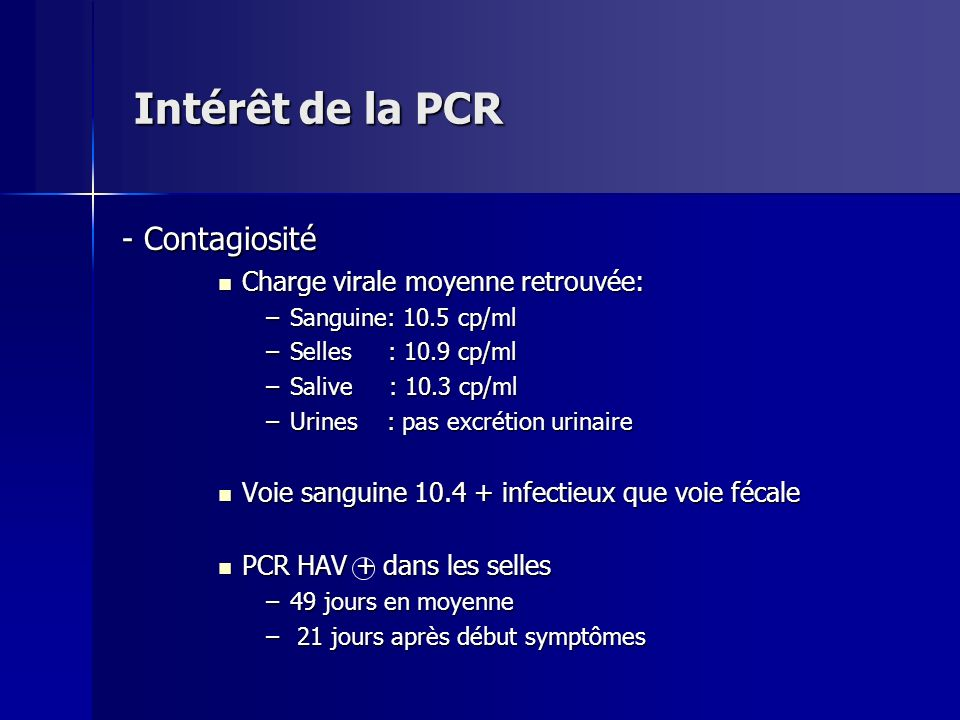 Intérêt de la PCR - Contagiosité Charge virale moyenne retrouvée:
