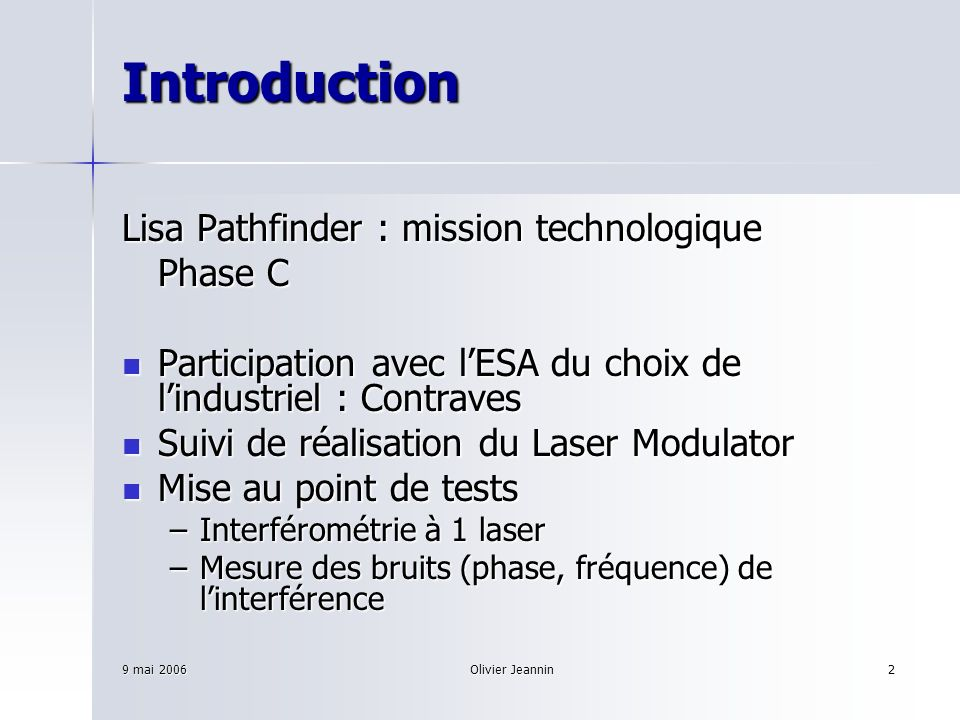 Introduction Lisa Pathfinder : mission technologique Phase C
