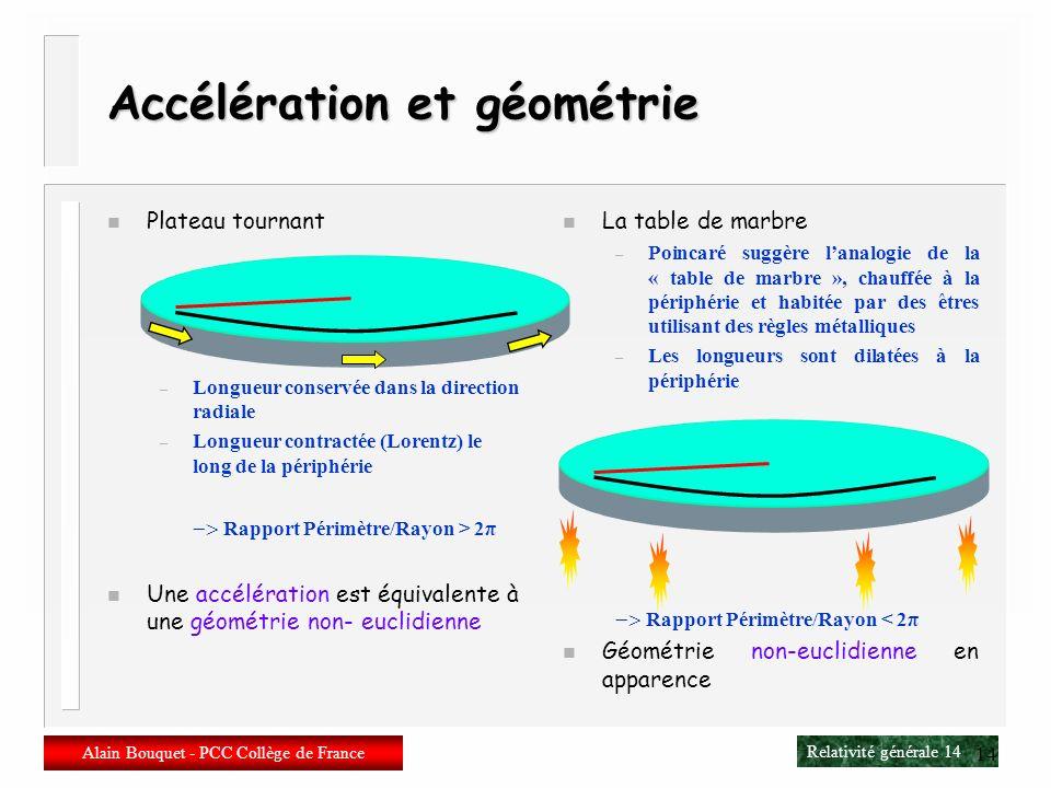 Accélération et géométrie
