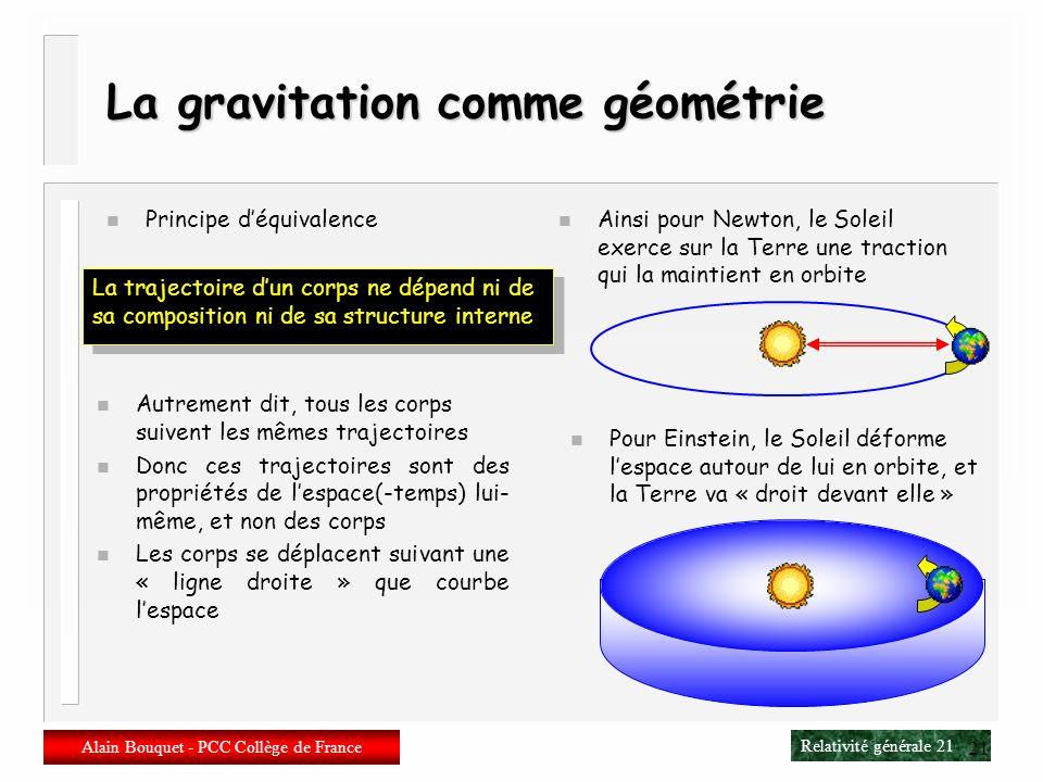 La gravitation comme géométrie