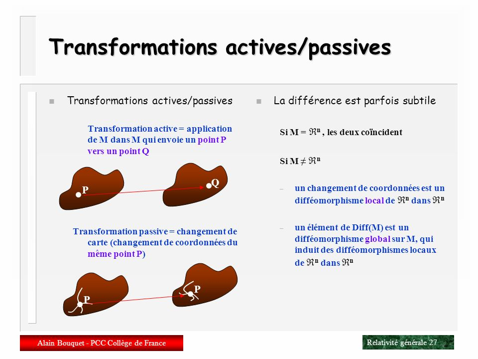 Transformations actives/passives