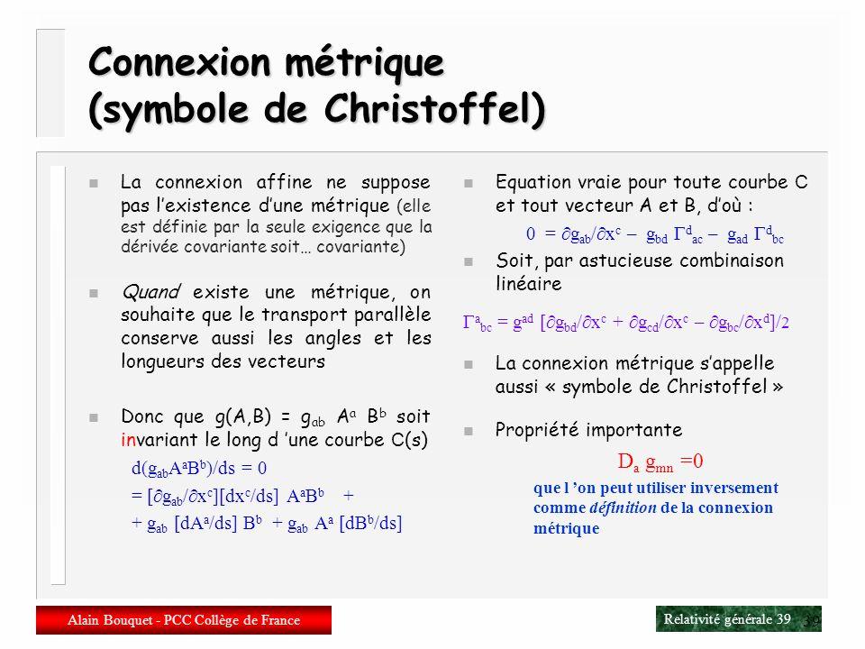 Connexion métrique (symbole de Christoffel)