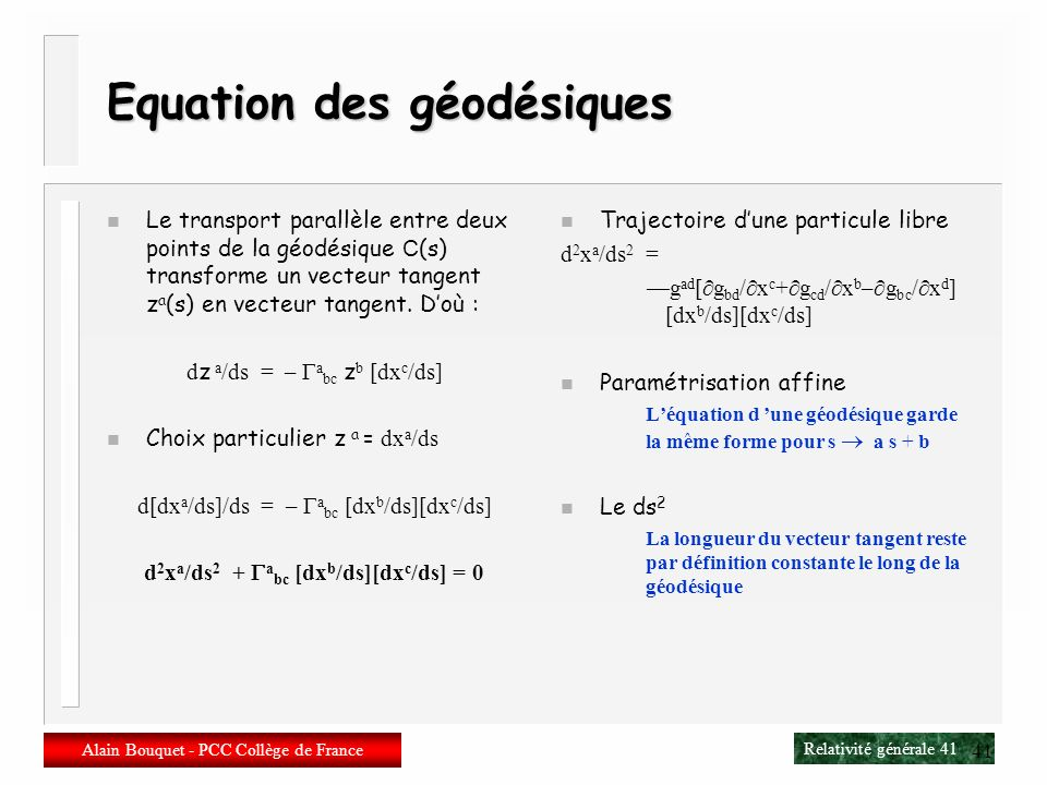 Equation des géodésiques
