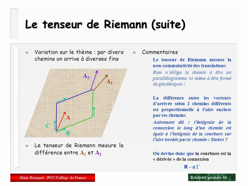 Le tenseur de Riemann (suite)