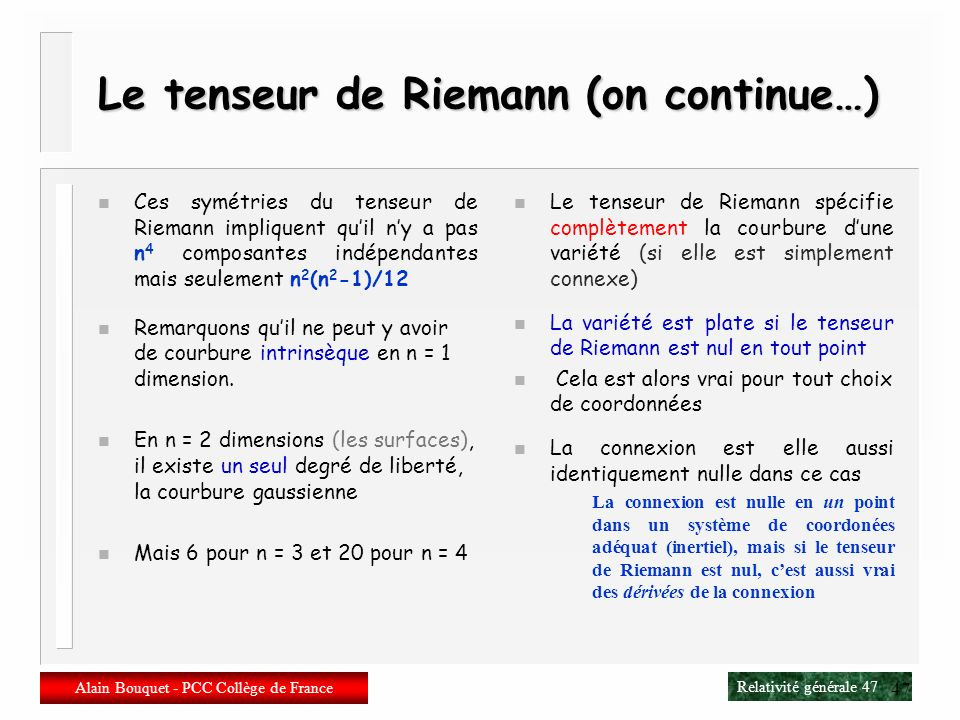 Le tenseur de Riemann (on continue…)