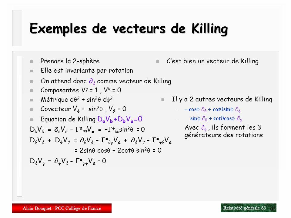Exemples de vecteurs de Killing