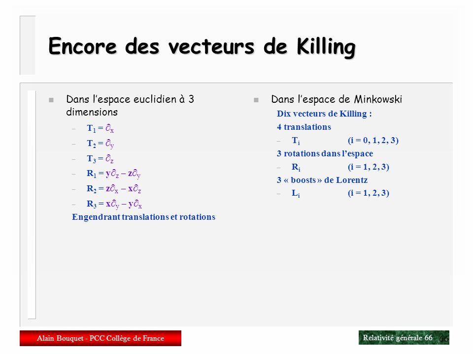 Encore des vecteurs de Killing