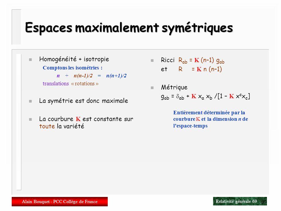 Espaces maximalement symétriques