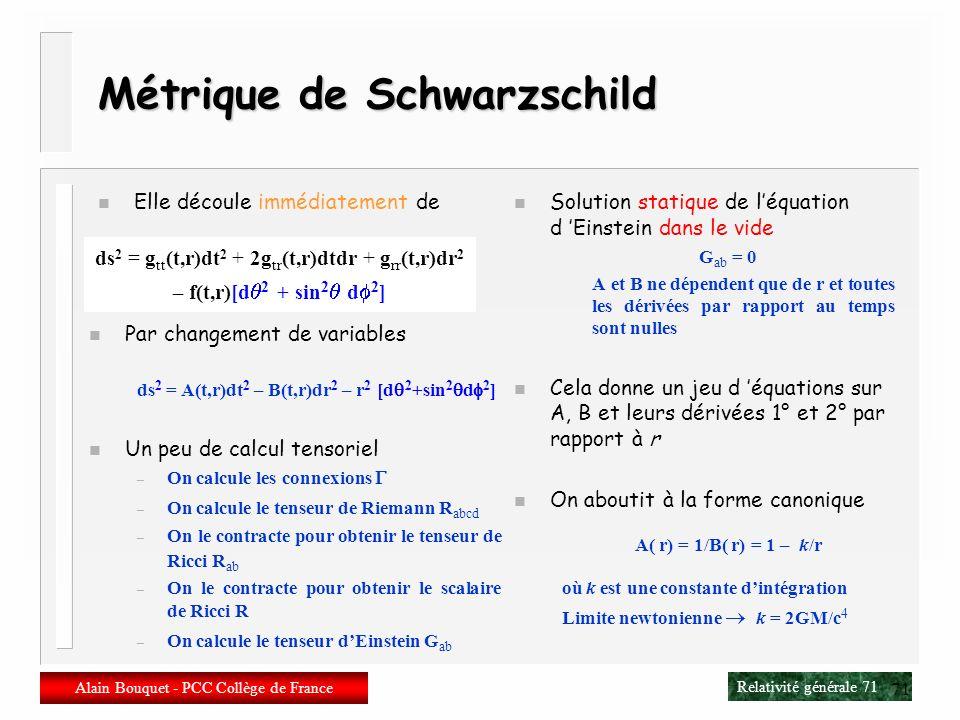 Métrique de Schwarzschild