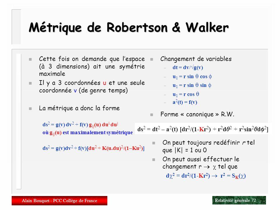 Métrique de Robertson & Walker
