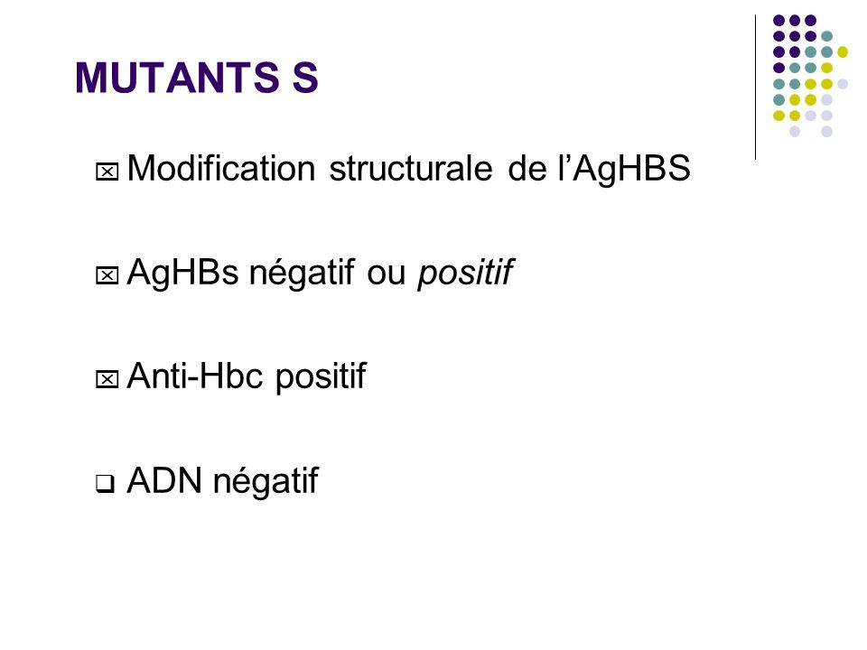 MUTANTS S Modification structurale de l'AgHBS AgHBs négatif ou positif