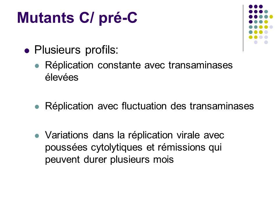 Mutants C/ pré-C Plusieurs profils: