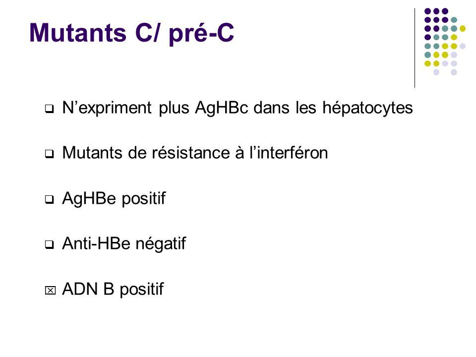 Mutants C/ pré-C N'expriment plus AgHBc dans les hépatocytes