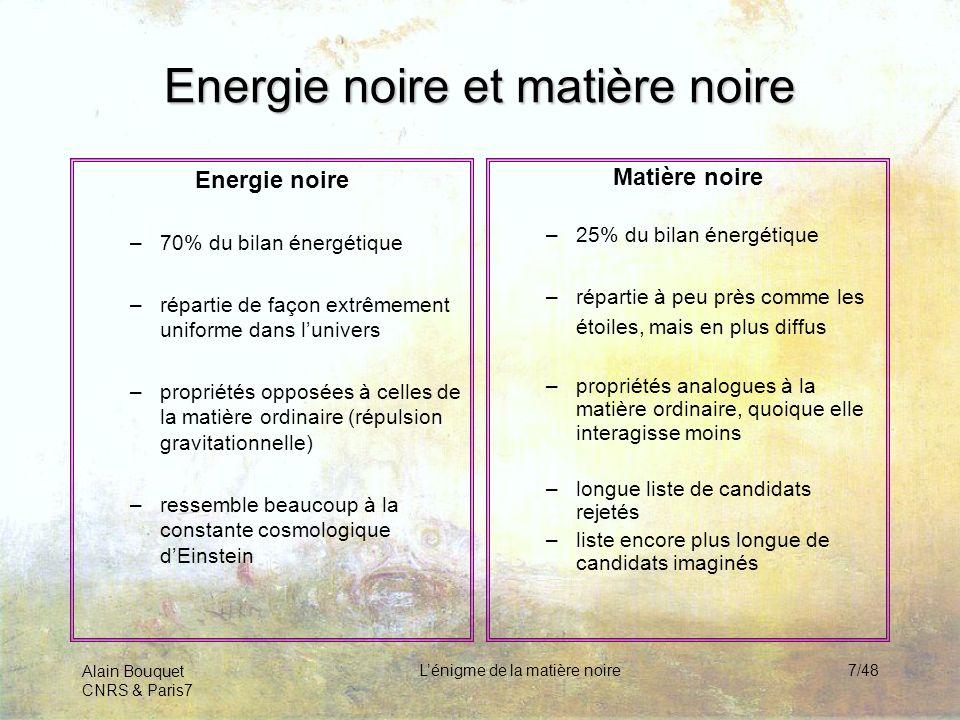 Energie noire et matière noire