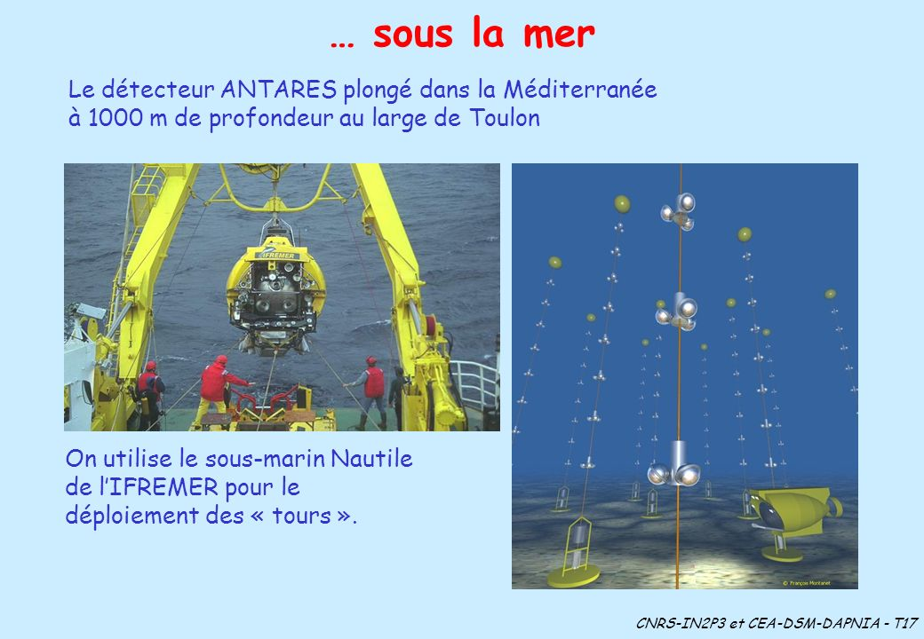 … sous la merLe détecteur ANTARES plongé dans la Méditerranée à 1000 m de profondeur au large de Toulon.