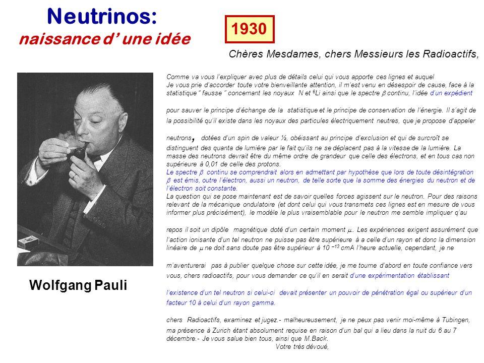 Neutrinos: naissance d' une idée 1930 Wolfgang Pauli
