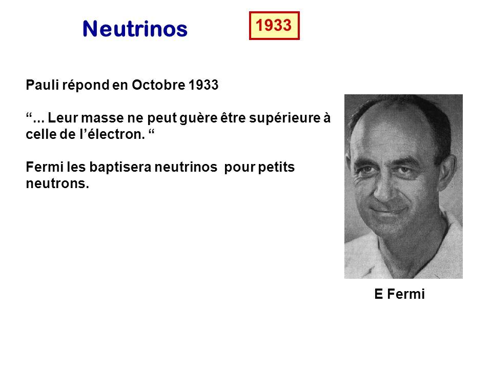 Neutrinos 1933 Pauli répond en Octobre 1933