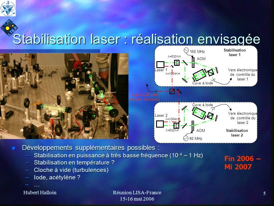 Stabilisation laser : réalisation envisagée