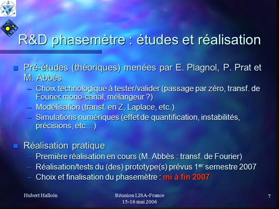 R&D phasemètre : études et réalisation