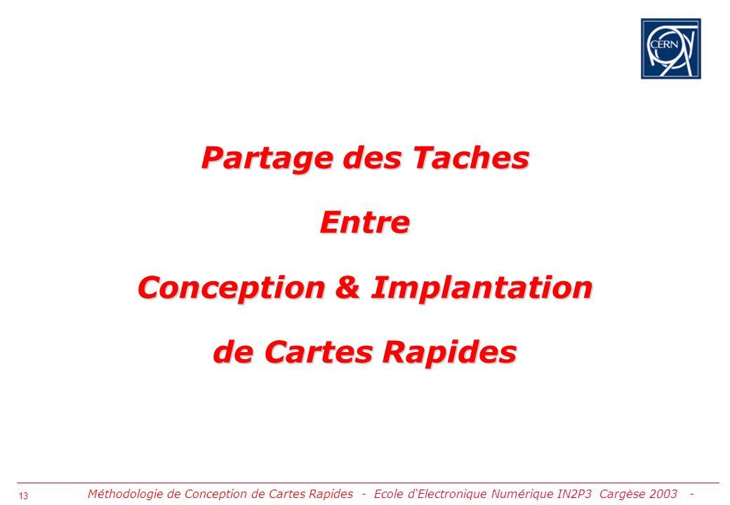 Partage des Taches Entre Conception & Implantation de Cartes Rapides